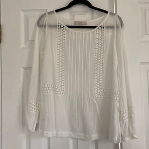 Ann Taylor Blouse in White with Lace Detail